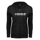 ENZA Ladies Black Fleece Full Zip Hoodie-Word Mark