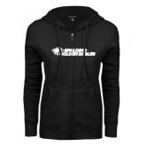 ENZA Ladies Black Fleece Full Zip Hoodie-Spalding Golden Eagles