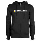 ENZA Ladies Black Fleece Full Zip Hoodie-Spalding University