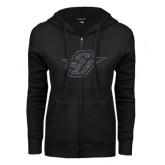 ENZA Ladies Black Fleece Full Zip Hoodie-Primary Mark Glitter Graphite Soft Glitter