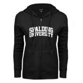 ENZA Ladies Black Fleece Full Zip Hoodie-Spalding University Arched