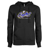 ENZA Ladies Black Fleece Full Zip Hoodie-Eagles Baseball