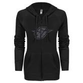 ENZA Ladies Black Light Weight Fleece Full Zip Hoodie-Primary Mark Glitter Graphite Soft Glitter