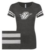 ENZA Ladies Black/White Vintage Triblend Football Tee-Primary Mark Glitter White Soft Glitter