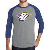 Grey/Royal Heather Tri Blend Baseball Raglan-Primary Mark