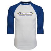 White/Royal Raglan Baseball T Shirt-Word Mark