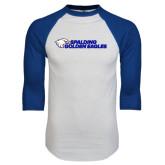 White/Royal Raglan Baseball T Shirt-Spalding Golden Eagles