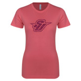 Next Level Ladies SoftStyle Junior Fitted Pink Tee-Primary Mark Glitter Hot Pink Glitter