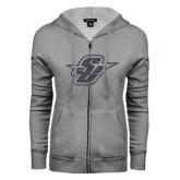 ENZA Ladies Grey Fleece Full Zip Hoodie-Primary Mark Glitter Graphite Soft Glitter