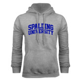 Grey Fleece Hood-Spalding University Arched