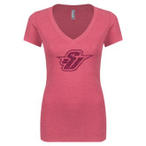 Next Level Ladies Vintage Pink Tri Blend V-Neck Tee-Primary Mark Glitter Hot Pink Glitter