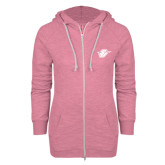 ENZA Ladies Hot Pink Marled Full Zip Hoodie-Primary Mark
