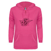 ENZA Ladies Hot Pink V Notch Raw Edge Fleece Hoodie-Primary Mark Glitter Hot Pink Glitter