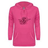 ENZA Ladies Hot Pink V-Notch Raw Edge Fleece Hoodie-Primary Mark Glitter Hot Pink Glitter