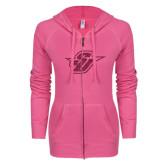 ENZA Ladies Hot Pink Light Weight Fleece Full Zip Hoodie-Primary Mark Glitter Hot Pink Glitter