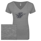 ENZA Ladies Graphite Melange V Neck Tee-Primary Mark Glitter Graphite Soft Glitter