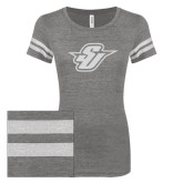ENZA Ladies Dark Heather/White Vintage Triblend Football Tee-Primary Mark Glitter White Soft Glitter