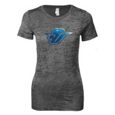 Next Level Ladies Junior Fit Dark Grey Burnout Tee-Primary Mark