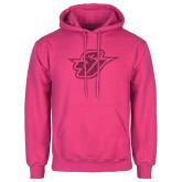 Fuchsia Fleece Hoodie-Primary Mark Glitter Hot Pink Glitter
