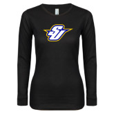 Ladies Black Long Sleeve V Neck T Shirt-Primary Mark