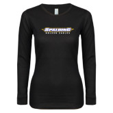 Ladies Black Long Sleeve V Neck T Shirt-Word Mark