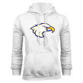 White Fleece Hoodie-Eagle Head
