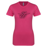 Ladies SoftStyle Junior Fitted Fuchsia Tee-Primary Mark Glitter Hot Pink Glitter