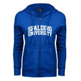 ENZA Ladies Royal Fleece Full Zip Hoodie-Spalding University Arched
