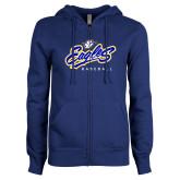ENZA Ladies Royal Fleece Full Zip Hoodie-Eagles Baseball