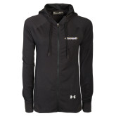 Ladies Under Armour Black Varsity Full Zip Hoodie-Word Mark