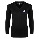 Ladies Black V Neck Sweater-Primary Mark