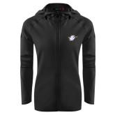 Ladies Tech Fleece Full Zip Black Hooded Jacket-Primary Mark