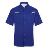 Columbia Tamiami Performance Royal Short Sleeve Shirt-Word Mark