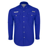 Columbia Bahama II Royal Long Sleeve Shirt-Word Mark