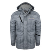 Grey Brushstroke Print Insulated Jacket-Word Mark