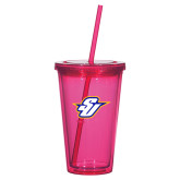 Madison Double Wall Pink Tumbler w/Straw 16oz-Primary Mark