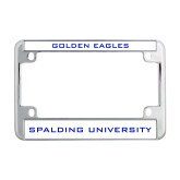 Metal Motorcycle License Plate Frame in Chrome-Golden Eagles