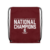 Maroon Drawstring Backpack-D3 Mens Volleyball National Champions