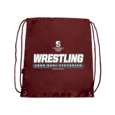 Maroon Drawstring Backpack-Wrestling - 1000 Dual Victories