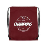 Maroon Drawstring Backpack-NCAA III Mens Volleyball Champs