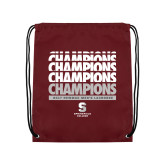 Maroon Drawstring Backpack-NEWMAC Mens Lacrosse Champions