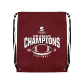 Maroon Drawstring Backpack-2017 NEWMAC Football Champions Arched