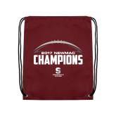 Maroon Drawstring Backpack-2017 NEWMAC Football Champions Half Ball