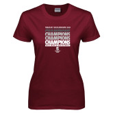 Ladies Maroon T Shirt-NCAA III Mens Volleyball Champs