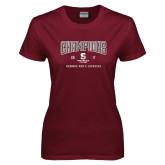 Ladies Maroon T Shirt-NEWMAC Mens Lacrosse Champions
