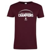 Ladies Maroon T Shirt-2017 NEWMAC Football Champions Half Ball