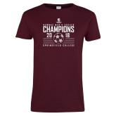 Ladies Maroon T Shirt-NEWMAC Mens Soccer Champions