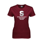 Ladies Maroon T Shirt-Springfield College Pride