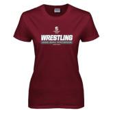 Ladies Maroon T Shirt-Wrestling - 1000 Dual Victories