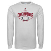 White Long Sleeve T Shirt-2017 NEWMAC Football Champions Arched